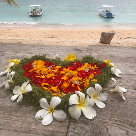 Floral love heart arrangement in Bali